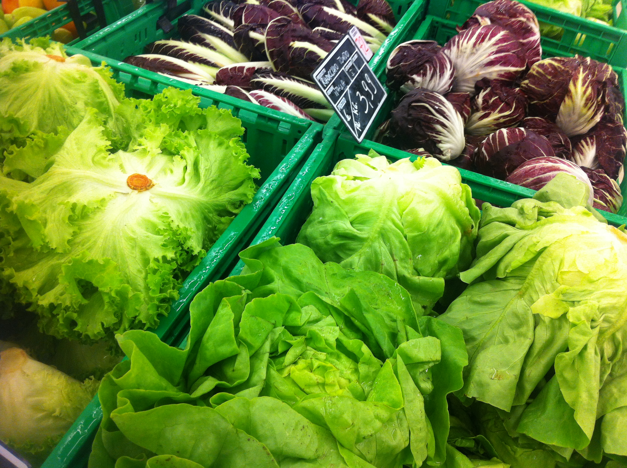 Locally sourced fresh vegetables at the supermarket in Perdonone